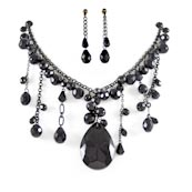 Trendy Fashionable | Black glass and diamond cut like dangling stones
